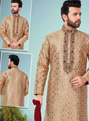 Kurta Pyjama Embroidered Jacquard in Beige