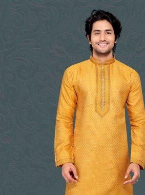 Kurta Pyjama Embroidered Jacquard in Yellow