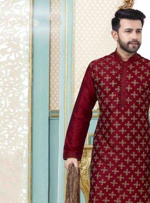 Kurta Pyjama Plain Art Dupion Silk in Maroon
