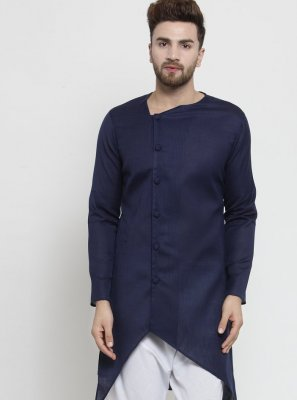 Kurta Pyjama Plain Cotton in Navy Blue