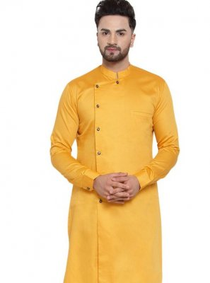 Kurta Pyjama Plain Cotton in Yellow