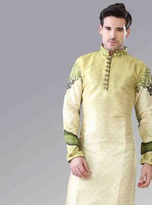 Kurta Pyjama Printed Art Silk in Yellow