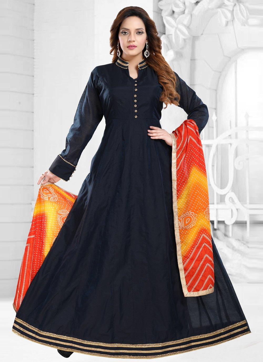 Lace Chanderi Readymade Gown in Navy Blue