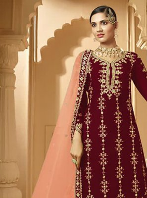 Lace Faux Georgette Designer Palazzo Salwar Kameez in Magenta and Peach