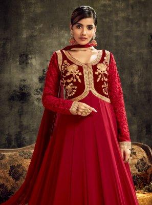 Lace Faux Georgette Floor Length Anarkali Salwar Suit