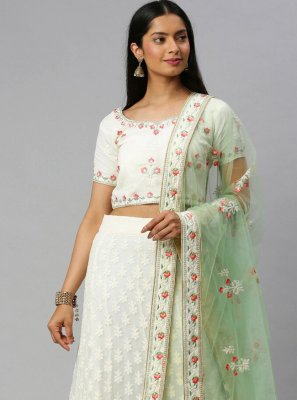 Lace Faux Georgette Lehenga Choli in Off White