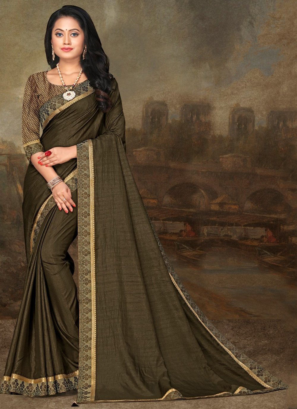 Lace Green Classic Saree