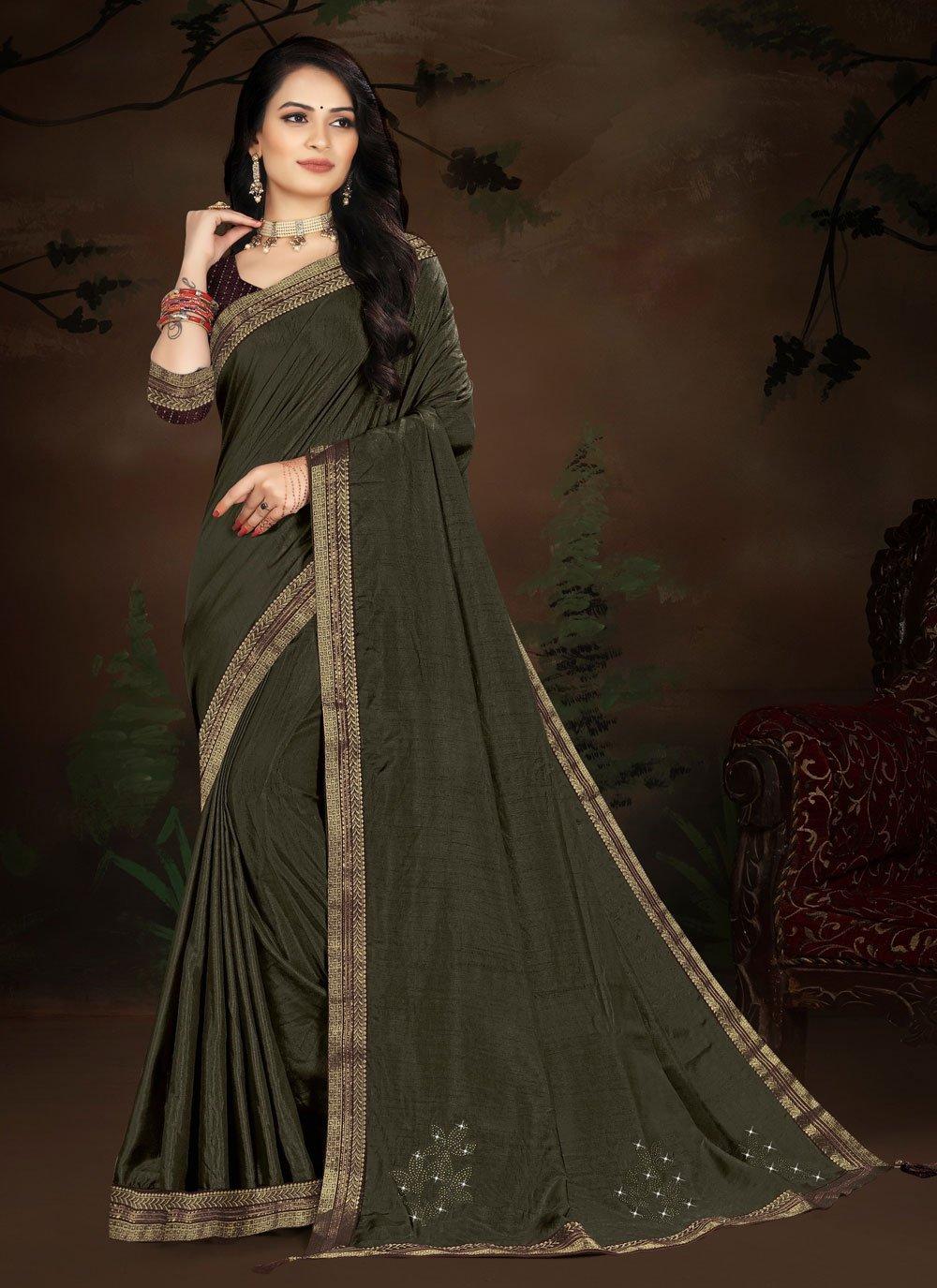 Lace Green Vichitra Silk Designer Traditional Saree