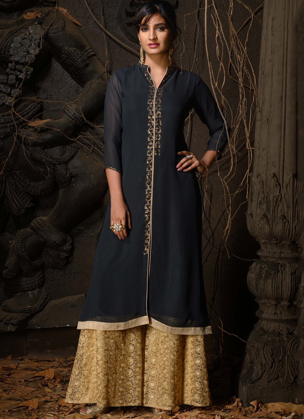 Lace Grey Faux Georgette Party Wear Kurti