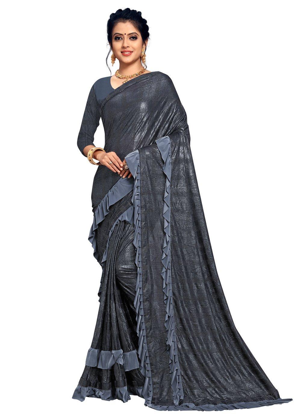 Lace Lycra Classic Designer Saree in Grey