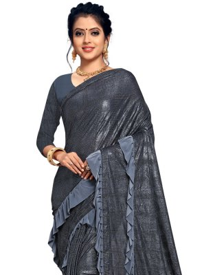 Lace Lycra Classic Designer Saree in Grey