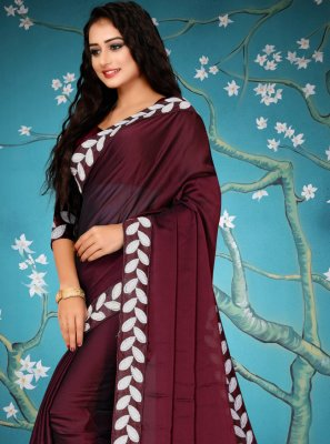 Lace Maroon Traditional Designer Saree