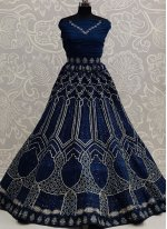 Lace Net Lehenga Choli in Navy Blue