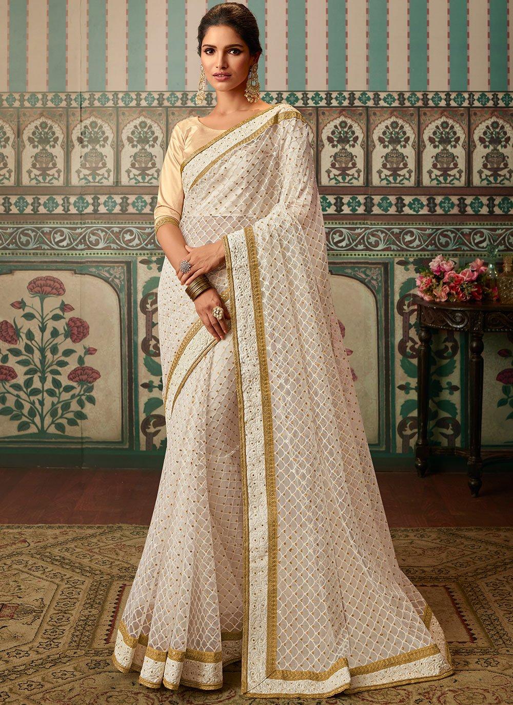 Lace Off White Classic Designer Saree