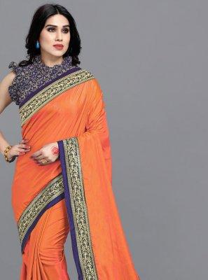 Lace Orange Classic Saree