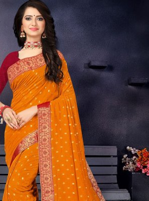 Lace Orange Vichitra Silk Traditional Saree
