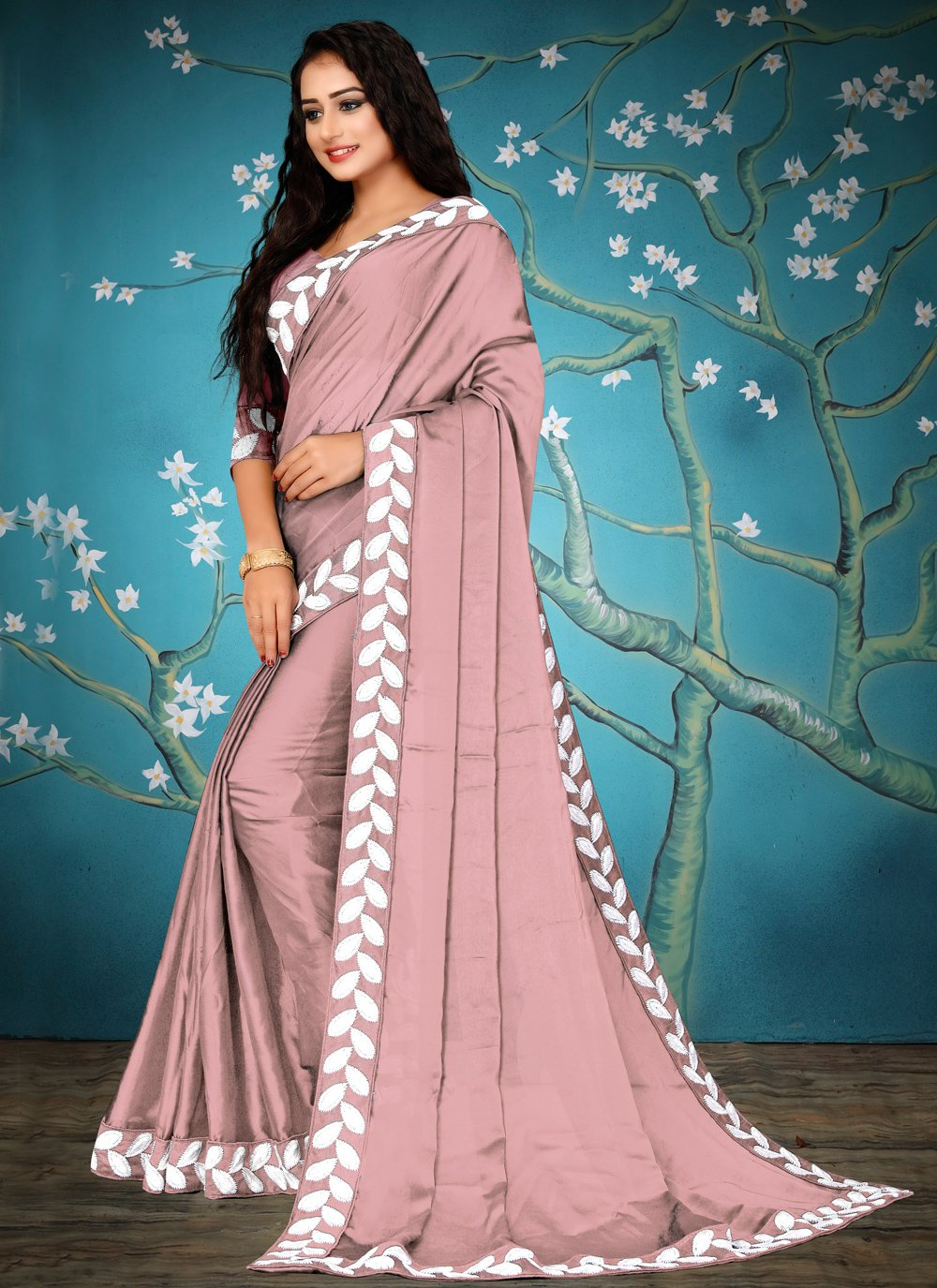 Lace Pink Fancy Fabric Traditional Saree