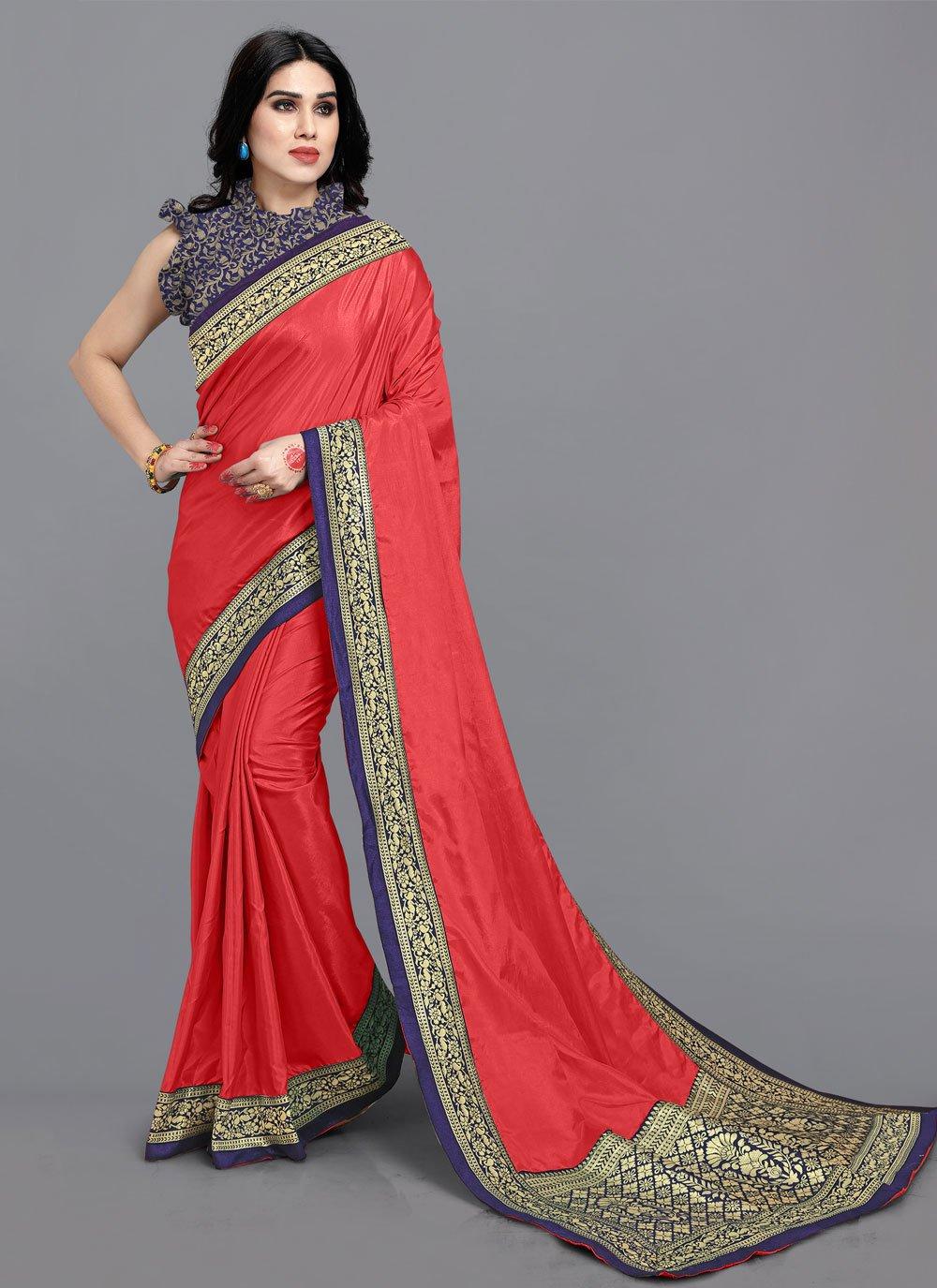 Lace Red Vichitra Silk Classic Designer Saree