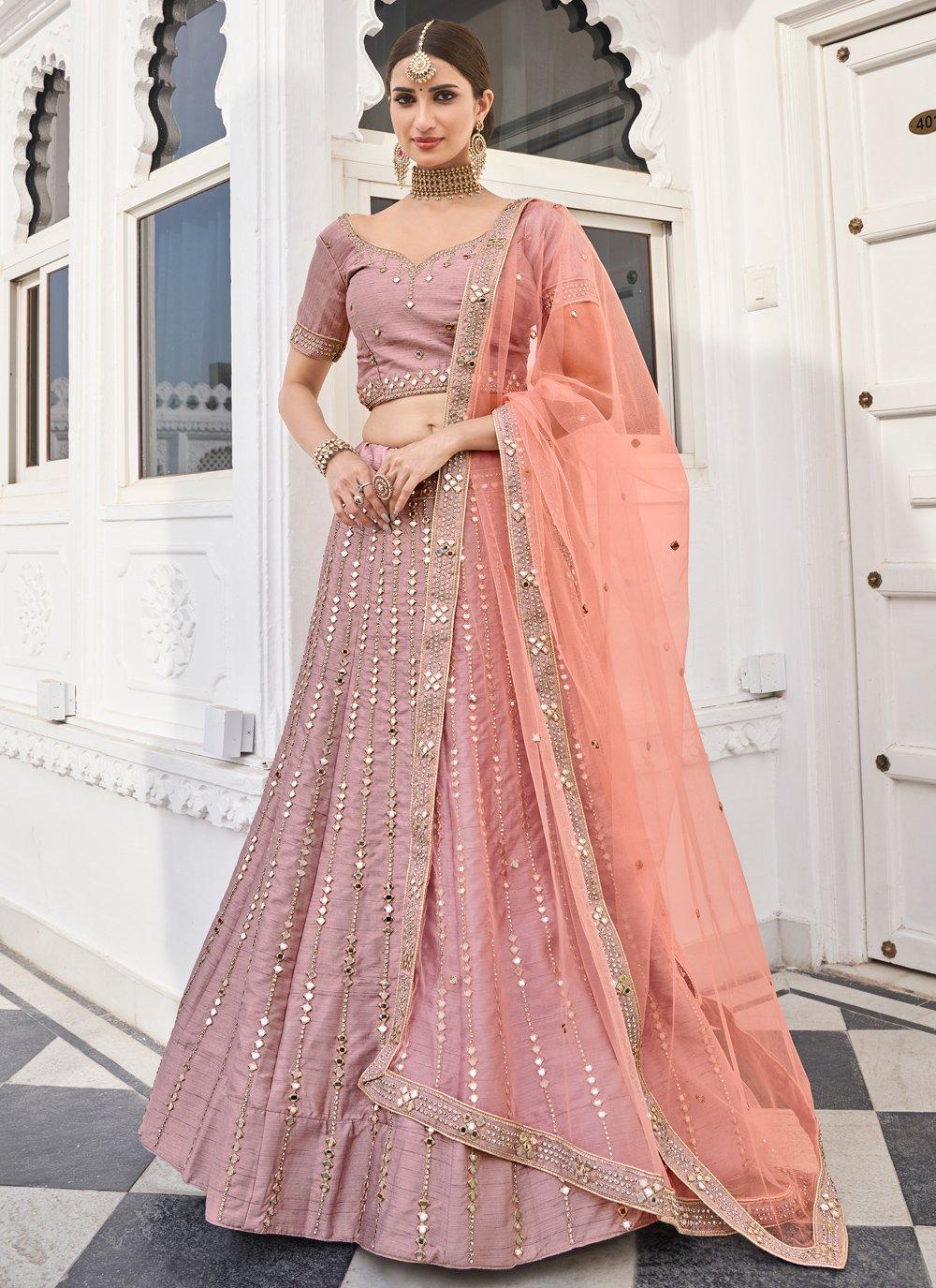 Lace Rose Pink Silk Lehenga Choli