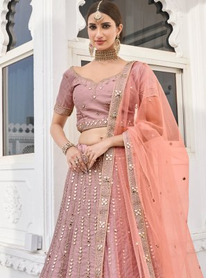 Lace Rose Pink Silk Lehenga Choli