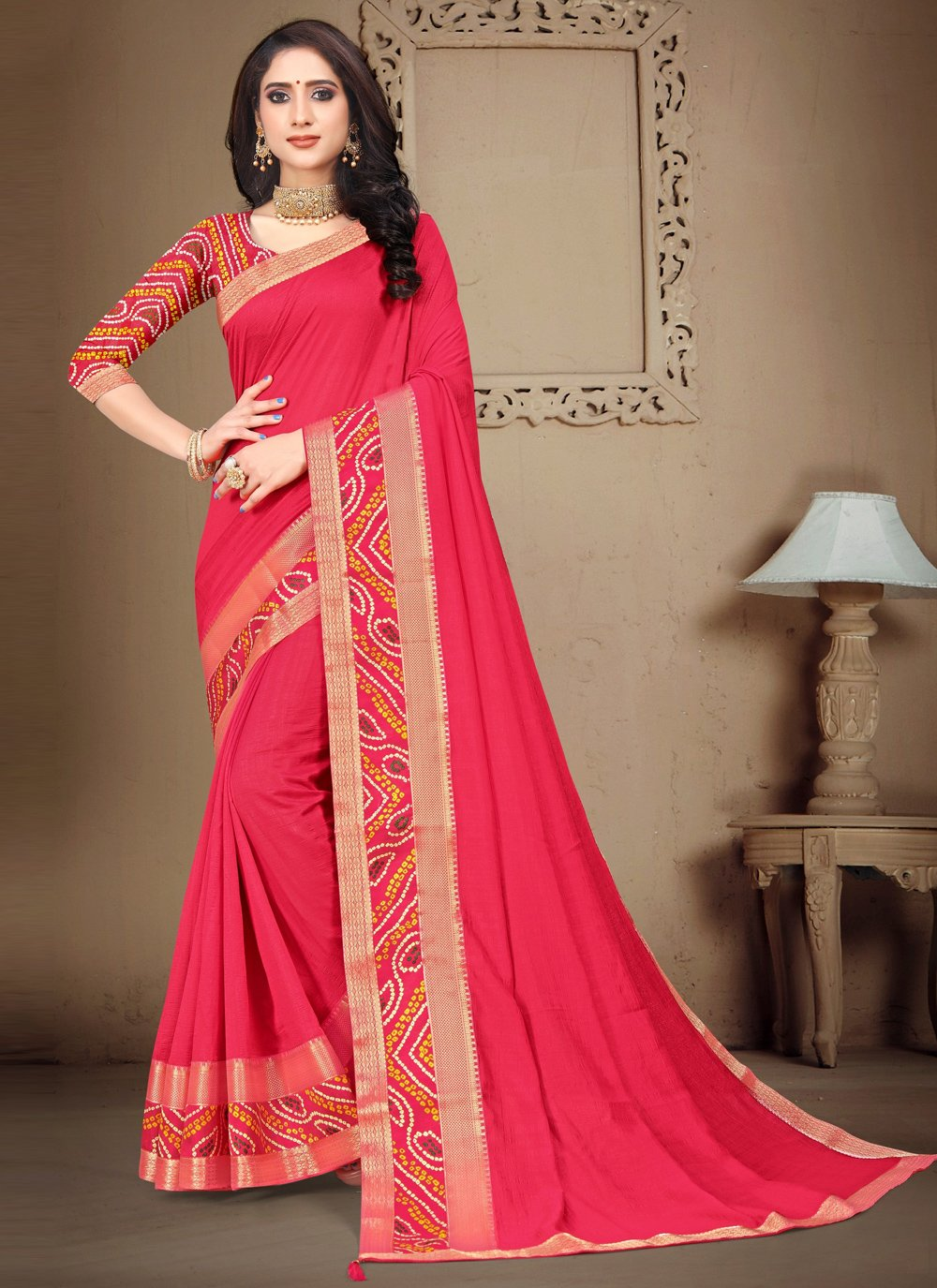 Lace Silk Contemporary Saree in Pink
