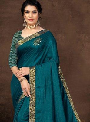 Lace Silk Designer Saree in Teal