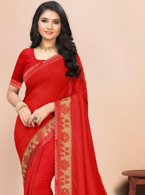 Lace Silk Red Classic Saree
