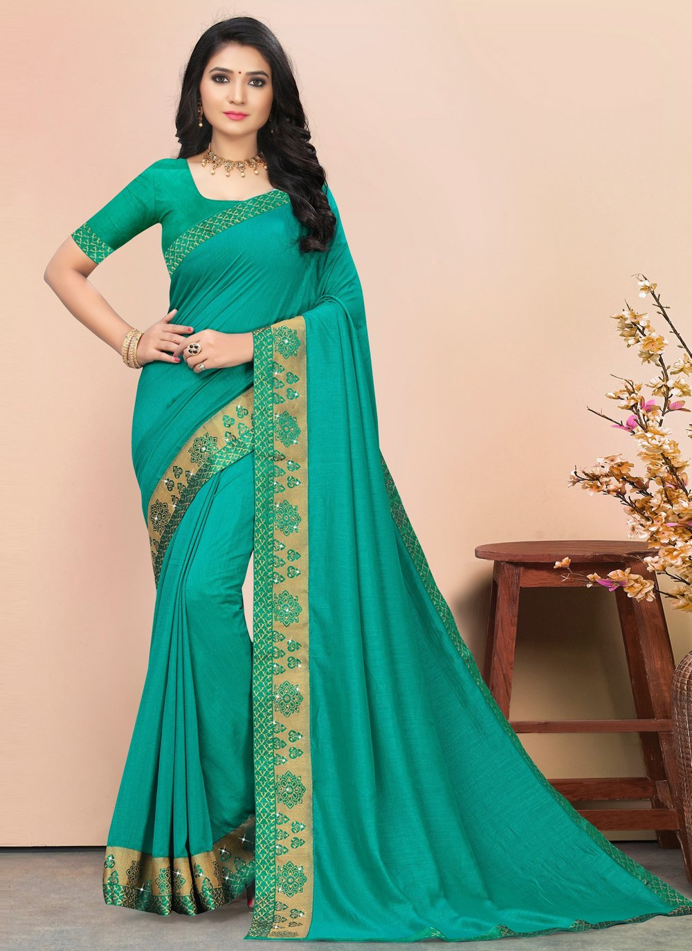 Lace Silk Trendy Saree in Teal