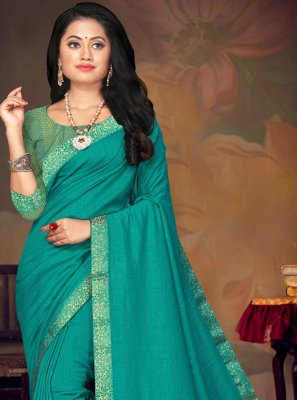 Lace Turquoise Art Silk Traditional Saree