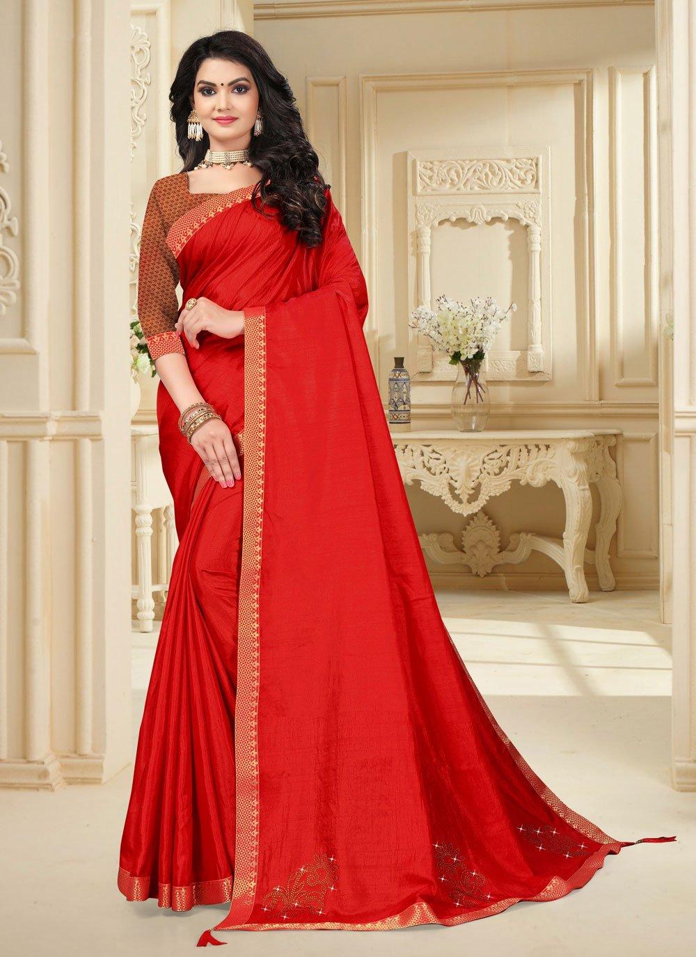 Lace Vichitra Silk Classic Saree in Red