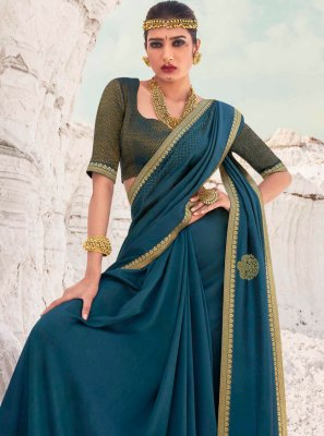 Lace Vichitra Silk Designer Traditional Saree in Teal