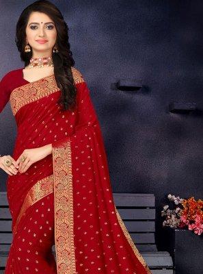 Lace Vichitra Silk Maroon Traditional Designer Saree