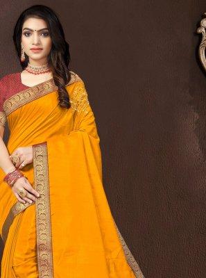 Lace Vichitra Silk Traditional Saree
