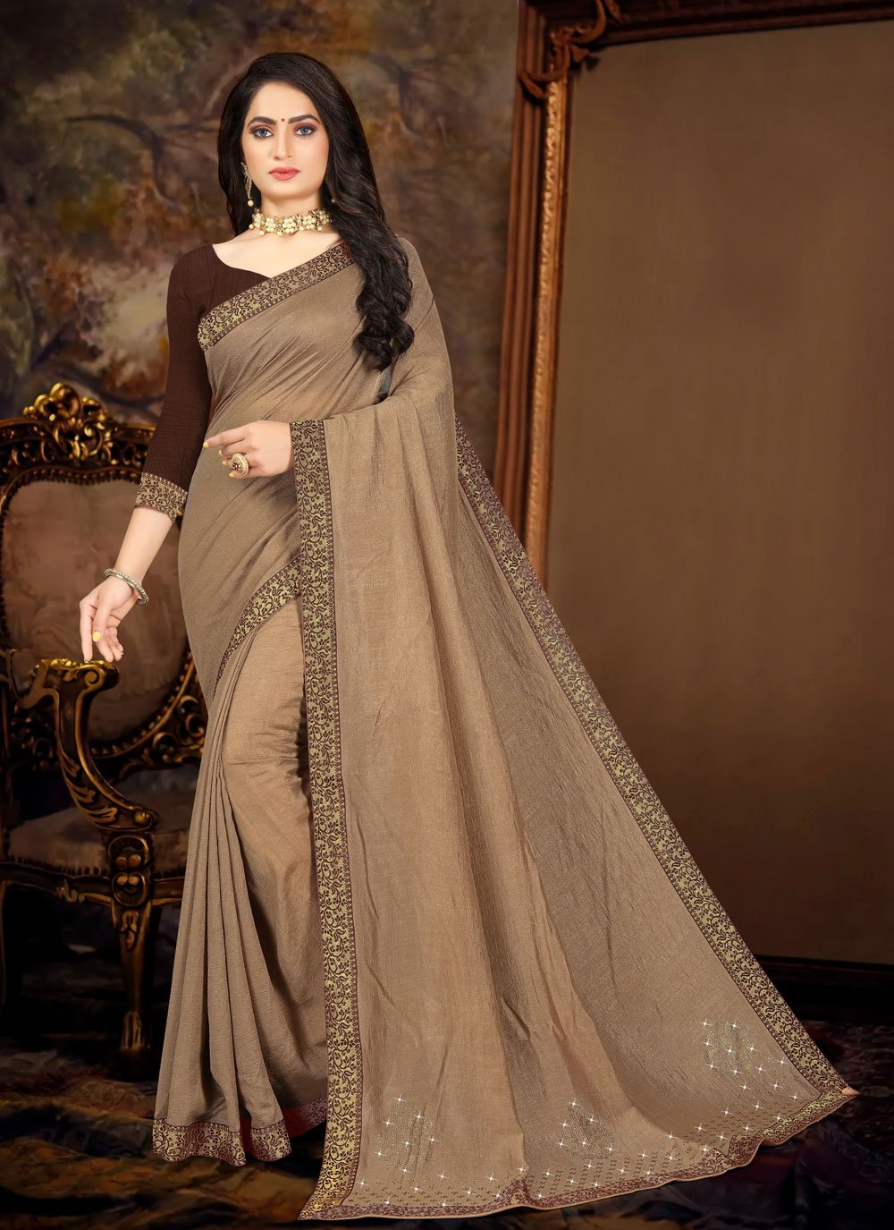 Lace Vichitra Silk Traditional Saree in Brown