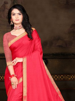 Lace Vichitra Silk Traditional Saree in Hot Pink