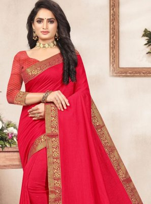 Lace Vichitra Silk Traditional Saree in Red
