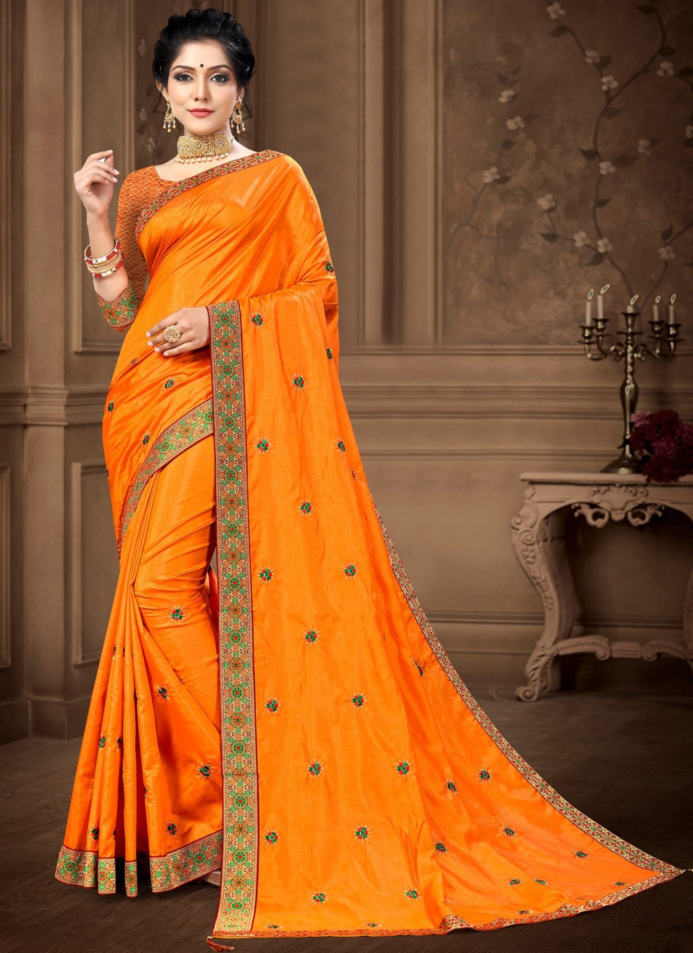 Lace Vichitra Silk Yellow Saree