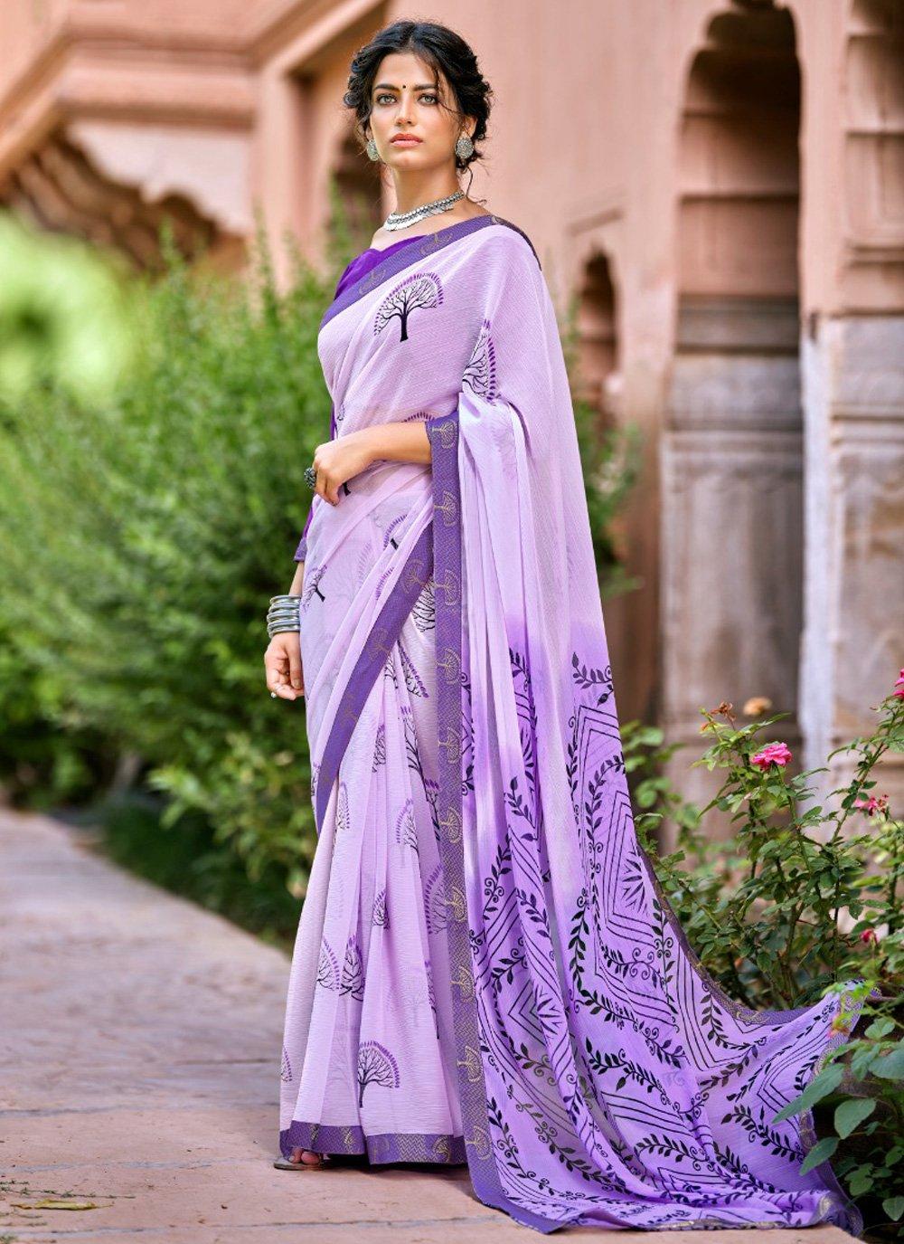 Lavender Abstract Print Printed Saree