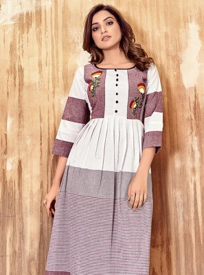 Lavender and White Cotton Festival Party Wear Kurti