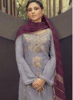 Lavender Embroidered Designer Palazzo Salwar Suit