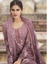 Lavender Embroidered Faux Georgette Designer Pakistani Suit