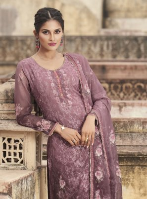 Lavender Embroidered Faux Georgette Designer Pakistani Suit