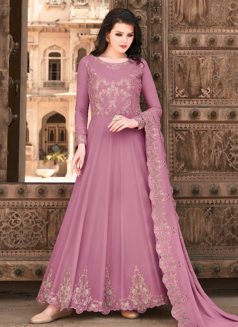 Lavender Embroidered Floor Length Anarkali Suit