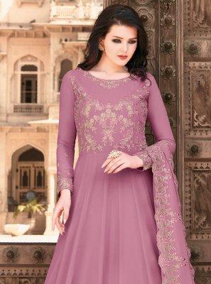 Lavender Embroidered Floor Length Anarkali Suit