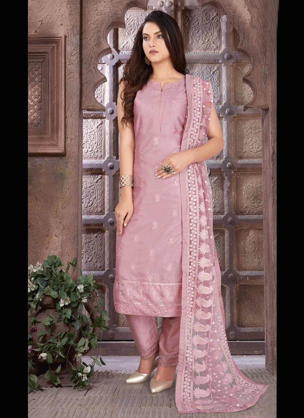 Lavender Embroidered Readymade Suit
