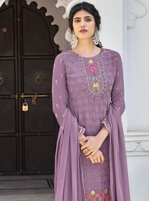 Lavender Faux Georgette Designer Palazzo Salwar Kameez