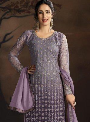 Lavender Net Embroidered Designer Palazzo Salwar Suit