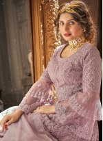 Lavender Net Embroidered Long Choli Lehenga