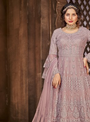Lavender Net Embroidered Long Choli Lehenga
