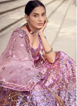 Lavender Net Lehenga Choli